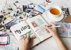 Woman journaling her story