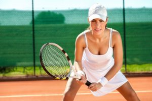 Female tennis player waiting for the ball