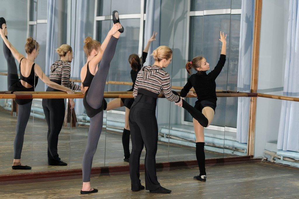 ballet dancers warming up