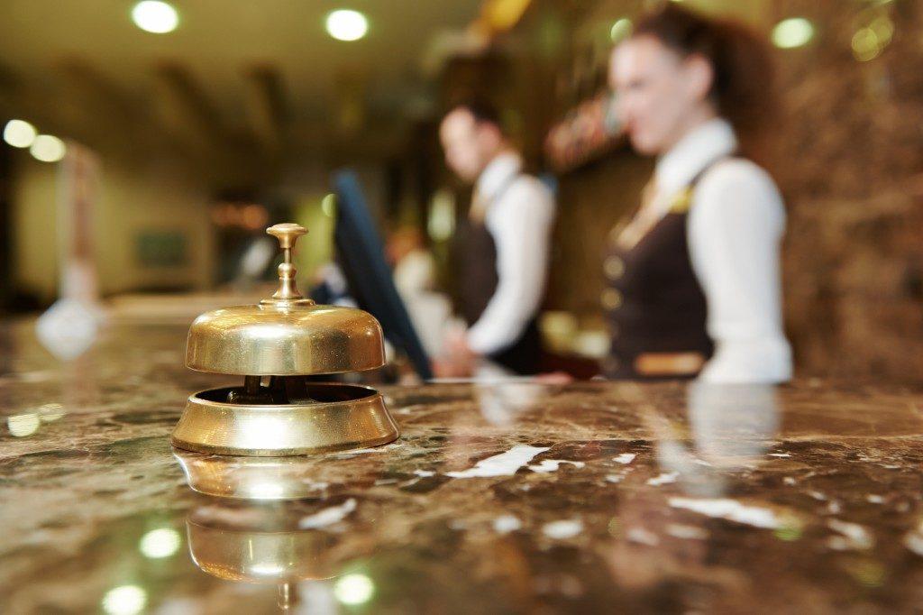 hotel reception counter desk